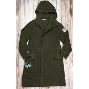 Zara Basic army green oversized trench coat
